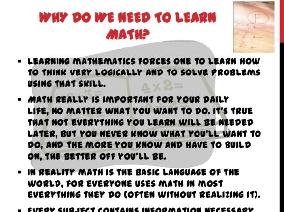 Why Learn Mathematics