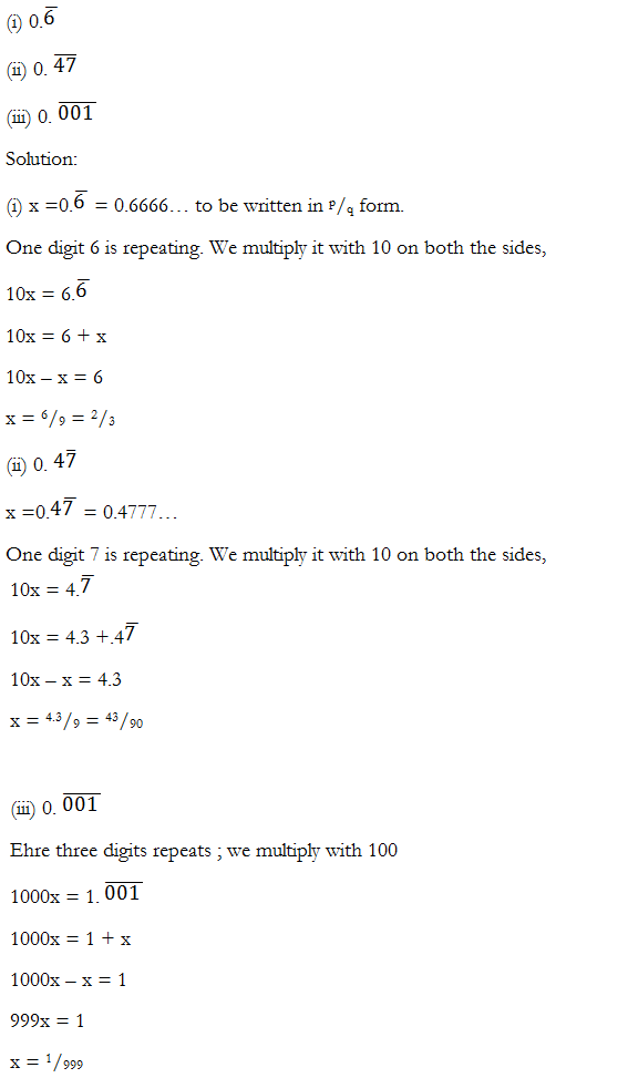Number System – Exercise 1.3 – Class IX