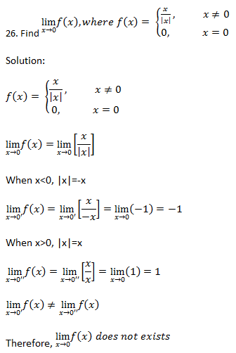 Limits and derivatives – Exercise 13.1 – Class XI