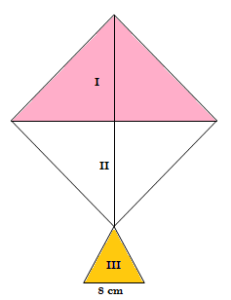 A kite in the shape of a square with a diagonal 32 cm and an isosceles triangle of base 8 cm and sides 6 cm each is to be made of three different shades as shown in Fig. 12.17. How much paper of each shade has been used in it?